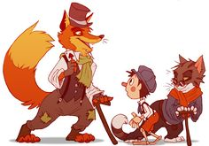 hi-diddle-dee-dee by Scarfowl.deviantart.com on @deviantART  While watching Pinocchio a few days ago I was suddenly struck by motivation (!!!) to draw something.  So I drew my own versions of the characters Pinocchio, Honest John and Gideon. The style is heavily influenced by the Disney movie, but I burrowed some ideas from the original book and other adaptations. The picture depicts when John gives Pinocchio a ticket (an ace of spades) to pleasure island, like in the movie.