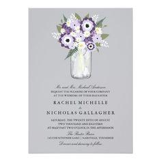 Mason Jar Floral   Wedding Card