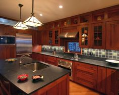 Traditional Kitchen Cherry Cabinets Design, Pictures, Remodel, Decor and Ideas