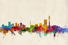 Michael Tompsett Solid-Faced Canvas Print Wall Art Print entitled Johannesburg South Africa Skyline, None Disney Princess Wall Decals, Art Prints, Poster Prints, Wall Art, Art Print Display, Painting, Art, Johannesburg Skyline, Skyline Art