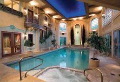 Artistic Beautiful Indoor Pools on Swimming Pool Inspiration Indoor Pools, Pool Spa, Piscina Interior, Sweet Home, Ceiling Treatments, Dream Pools, Beautiful Pools, Swimming Pool Designs, Sauna