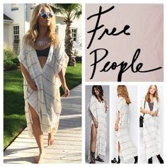 """Free People Cream/Grey Whispering Wind Poncho. NWT Free People Cream/Grey Combo Whispering Wind Poncho Cardigan, 50% cotton, 31% rayon, 17% nylon, 1% linen, 1% polyester, washable, 31"""" measured laying flat from the top left to the right, 12"""" arm holes, 46"""" length, 20"""" side slits, cream fabric trim around neck, shoulder and back, semi-sheer textured knit, bohemian styling, deep V neck, side seam pockets, three front button closure, measurements are approx.  NO TRADES Free People Sweaters…"""