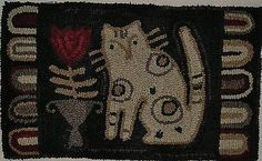 HAND-HOOKED-RUG-EARLY-STYLE-PRIMITIVE-CAT-AND-TULIP-RUG