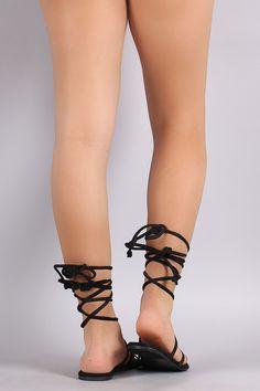 Qupid Chevron Beadwork Strappy Lace Up Flat Sandal