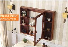 40inch solid wood bathroom medicine cabinet, 4mmm silver coating mirror, three shelves inside