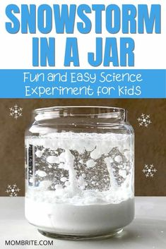 If you are looking for an indoor activity in the cold winter time, the snowstorm in a jar science experiment is the perfect boredom buster for your little ones. Your kids will love this fun STEM… Science Experiments For Preschoolers, Science Projects For Kids, Cool Science Experiments, Preschool Science, Science For Kids, Kid Experiments At Home, Winter Stem Activities For Kids, Summer Science, Earth Science