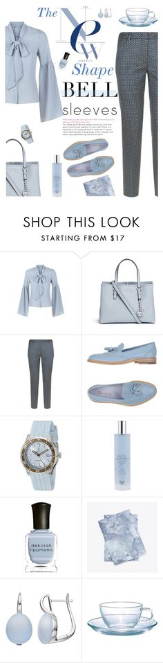 """""""A New Shape for Fall"""" by molly2222 ❤ liked on Polyvore featuring Related, Michael Kors, Weekend Max Mara, Santoni, Swiza, Deborah Lippmann, Hario and bellsleeves"""