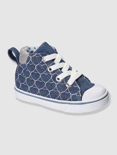 Zapatillas deportivas de lona bebé niña AZUL MEDIO JASPEADO+BLANCO MEDIO ESTAMPADO+ROJO MEDIO A RAYAS