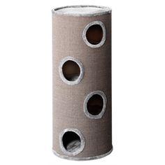 Robuuste krabton met meerdere ligplaatsen. Zowel de bovenkant van de krabton als de ligvlakken op meerdere etages zijn afgewerkt met een hoge kwaliteit pluche. De buitenkant van de ton is geheel omwikkeld met een stevige sisalstructuurstof, waaraan uw kat zijn nagels kan scherpen in plaats van aan uw meubilair.