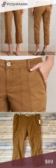 """NWT Anthropologie Hei Hei Tavira Crops, Size 32 These adorable crops by Anthropologie brand Hei Hei are sold out everywhere and almost impossible to find in this size! These lightweight stretch cotton twill crops feature a relaxed fit and side slant, back welt pockets. New with tags. Size 32. Moss color. Rise= approx 8.5"""" Inseam= approx 29.5"""" Leg opening= approx 14"""" Washable. 🌷 Anthropologie Pants Capris"""