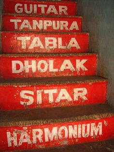 Musical Stairs    Leading to a musical instrument shop in Chandni Chowk