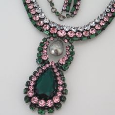 Vtg Signed Max Muller Haute Couture Emerald Rhinestone Glass Pearl Necklace