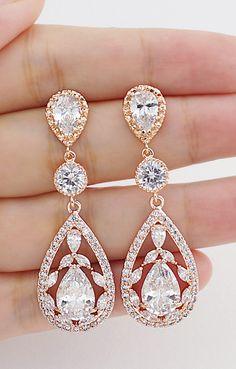 Rose Gold Luxury Cubic Zirconia Floral Drop Earrings - Earrings Nation Rose Gold Weddings Blush Weddings