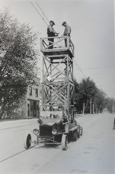 """12 By 18"""" Black & White Picture 1920's Ford  Model T to repair street car lines"""