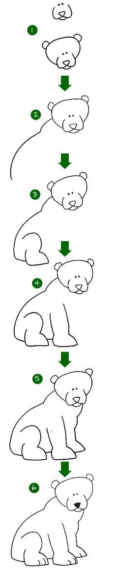 stap voor stap een leuke beer tekenen;)