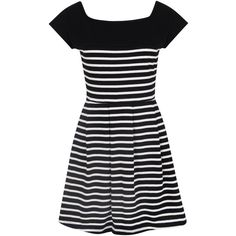 French Connection County Cotton Striped Dress, Black/Winter White (€82) ❤ liked on Polyvore featuring dresses, vestidos, short dresses, casual dresses, cotton summer dresses, cap sleeve dress, short maxi dress, midi dress and long-sleeve mini dress