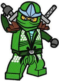 LEGO Ninjago Green Ninja Lloyd ZX machine embroidery design. Machine embroidery design. www.embroideres.com