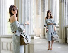 ootd chicwish grey off-shoulder dress volants chic gucci belt dionysus bag gg le specs sunglasses berlin museumsinsel museum island tourist fashionblogger berlin blogger cats & dogs fashion blog ricarda schernus modeblogger 5