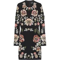 Needle & Thread Sequined crepe mini dress, Size: 8 ($195) ❤ liked on Polyvore featuring dresses, needle & thread, vestidos, black mini dress, crepe dress, short black dresses e sequin mini dress