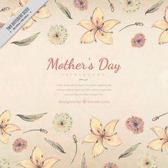 Antecedentes do dia das mães com as flores desenhadas mão Vetor grátis