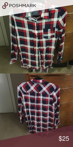 Plaid button up tunic Made out of cotton but stretches slightly. Thin material. Only worn 2 times EZ clothing  Tops Tunics