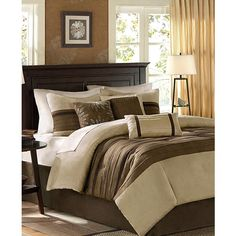 Madison Park Palmer Microsuede 7-Pc. Queen Comforter Set ($135) ❤ liked on Polyvore featuring home, bed & bath, bedding, comforters, natural, microsuede comforter, microsuede comforter sets, madison park bedding, micro suede comforter and 7 pc comforter set