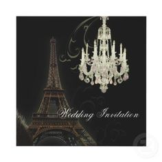 This Vintage Paris Chandelier wedding invitation is perfect for a stylish 1930s glamorous wedding