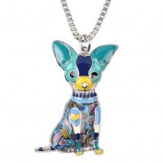 Bonsny Love Pets Enamel Zinc Alloy Metal Chihuahua Necklace Dog Animal pendant Exclusive Design (Blue): Design and produce by BONSNY We design special fashion jewelry for Women and Girls. Each design is Unique . Dog Necklace, Long Chain Necklace, Necklace Types, Pendant Necklace, Green Necklace, Enamel Jewelry, Charm Jewelry, Dog Jewelry, Jewelry Ideas