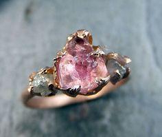 Brut rose Tourmaline diamant Rose or bague de fiançailles bague de mariage personnalisé One Of un aimable pierres précieuses bague trois pierres Ring byAngel