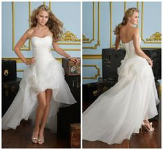 Beautiful chiffon, long in back and short in front wedding dress.
