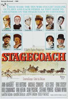 "Norman Rockwell ""Stagecoach"" poster 20th Century Fox, 1966 Great poster, utterly pointless remake. Alex Cord surely didn't became the new John Wayne, bless his soul... ambabeuf"