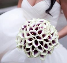 white roses with purple round bouquet | liliy, roses and calla lily bridal bouquet by Village Arts & Flowers ...