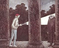 missanthropicprinciple:  Anthony Monday in The Lamp from the Warlock's Tomb. (One of my favourite Edward Gorey illustrations and John Bellairs' books.)