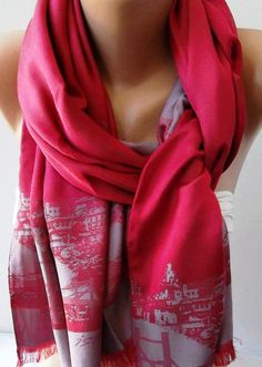 Neat way to wear - Pink  Silk Shawl / Scarf  ISTANBUL by womann on Etsy, $16.00