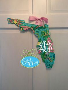 Wooden Hand Painted Lilly Pulitzer Florida Door by SayHayGifts
