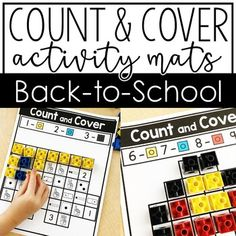 These Count and Cover Mats are perfect for any kindergarten classroom. This set includes eight mats with back to school images such as a bus, glue, chalkboard, pencil, school, and more. These are the perfect tool to help kinder students practice number recognition in various forms for numbers 1-10. Great to use with plastic counting cubes of various colors. K students love this hands on number review activity. Use in math centers, whole class review, or individual work time. #Counting #Numbers