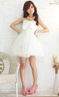 Charming strap decorated waist bow Mini White Bloom Dress