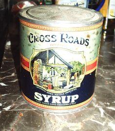 1920's Cross Roads Brand Syrup tin Can W. B. Roddenberry Cairo, Georgia Original #CrossRoads