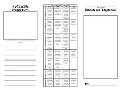 Animal Adaptations and Habitats Brochure Project + grading rubric- Fourth Grade