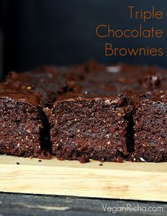Vegan Richa: Triple Chocolate Salted Caramel Brownies. Vegan Recipe