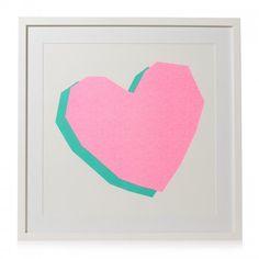 Neon Heart Framed Wall Art