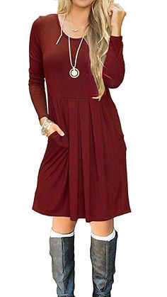 370c8c37056 I2CRAZY Women s Casual Pleated Loose Swing T-Shirt Dress with Pockets Knee  Length(06