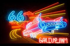 Route 66 neon gallup nm photograph by bob christopher Advertising Signs, Vintage Advertisements, Route 66 Sign, Neon Moon, Travel Route, Travel Usa, Neon Nights, New Mexican, Magic City