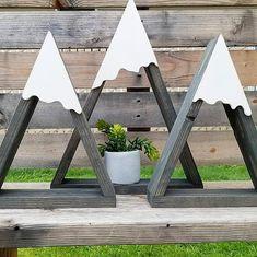 Mountain Shelf, Woodland Nursery, Mountain Wall Decor, BOHO Wedding, Woodland Baby Shower, Wood Triangle, Wood Airplant Holder, Rock Shelf