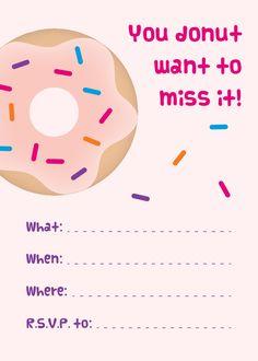 mini donuts free printable donut party invitations