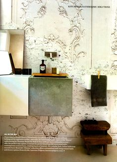 Get the look with wall-hung cement basin from Laurence Pidgeon - Elle Decoration September 2013 http://www.laurencepidgeon.com/