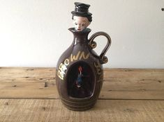 Vintage Ceramic Brown Jug / Wine Decanter Novelty Musical Maple Syrup Jug Kitsch Decor Gift Plays Music Vintage Flicker Free Shipping by VintageFlicker