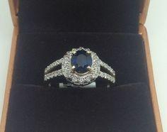 Ladies diamond and sapphire ring