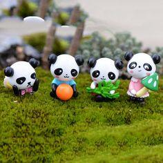 4 Pcs/lot mini panda fairy garden miniatures gnomes moss terrariums resin crafts figurines for home decoration accessories Niedlicher Panda, Cartoon Panda, Cute Panda, Miniature Terrarium, Miniature Fairy Gardens, Bonsai, Decor Terrarium, Fairy Terrarium, Terrariums