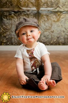 Easy to make: appliqué the tie on a onsie... The hat & that baby are adorable too!